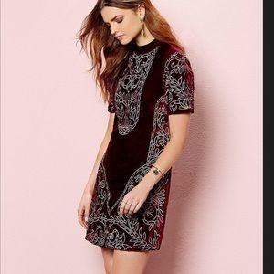 Chelsea & Violet wine embroidered velvet dress